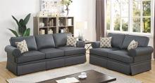 Poundex F6441 2 pc Charlton home warrick charcoal glossy polyfiber sofa and love seat set