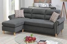 Poundex F6447 2 pc leta slate velvet fabric apartment size sectional sofa reversible chaise