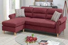 Poundex F6449 2 pc leta paprika red velvet fabric apartment size sectional sofa reversible chaise