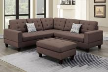 Poundex F6471 3 pc Biloxi dark coffee polyfiber fabric sectional sofa and ottoman