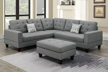 Poundex F6472 3 pc Biloxi grey polyfiber fabric sectional sofa and ottoman