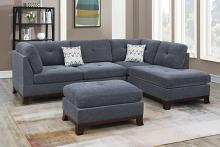 Poundex F6479 3 pc Canora gene ash grey chenille fabric reversible chaise sectional sofa and ottoman