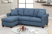 Poundex F6573 2 pc leta blue glossy polyfiber fabric apartment size sectional sofa reversible chaise