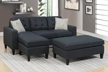 Poundex F6575 2 pc Ebern designs cray daryl black linen like fabric reversible chaise sectional sofa set ottoman