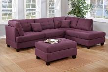 Poundex F6583 3 pc martinique warm purple linen like fabric sectional sofa with reversible chaise and ottoman