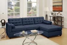 Poundex F6584 2 pc Manhattan dark blue linen like fabric sectional sofa with reversible chaise