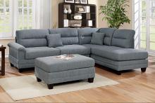 Poundex F6585 3 pc martinique grey linen like fabric sectional sofa with reversible chaise and ottoman