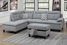 Poundex F6589 3 pc martinique II grey linen like fabric sectional sofa reversible chaise and storage ottoman