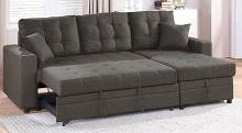 Poundex F6591 2 pc Latitude Run Venters ash black polyfiber sectional sofa set pull out sleep area with chaise