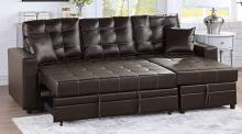 Poundex F6592 2 pc Latitude Run Venters espresso faux leather sectional sofa set pull out sleep area with chaise