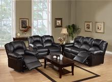 Poundex F6671-72 2 pc Halifax II black bonded leather upholstery sofa and love seat set with recliner ends