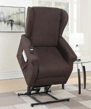 Poundex F6734 Mabel II dark coffee hygiene fabric power lift recliner chair