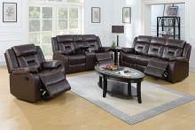 Poundex F6794-95 2 pc Bernice II dark brown gel leatherette sofa and love seat set with reclining ends