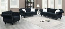 Poundex F6837-36 2 pc jolanda II black velvet fabric sofa and love seat set with tufted backs