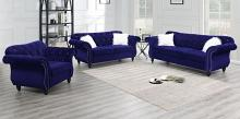 Poundex F6840-39 2 pc jolanda II indigo velvet fabric sofa and love seat set with tufted backs