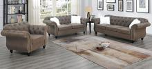 Poundex F6843-42 2 pc jolanda II dark coffee leather like fabric sofa and love seat set with tufted backs