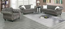 Poundex F6846-45 2 pc jolanda II slate grey leather like fabric sofa and love seat set with tufted backs