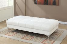 Poundex F7229 Orren ellis hayden white bonded leather modern ottoman