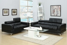 Poundex F7239 2 pc Orren ellis drew black bonded leather sofa and love seat set with adjustable headrests