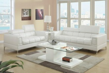 Poundex F7240 2 pc chelsea white bonded leather sofa and love seat set with adjustable headrests