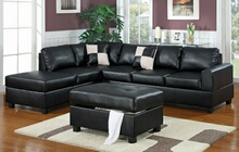 3 pc Black bonded leather match reversible sectional sofa with free storage ottoman