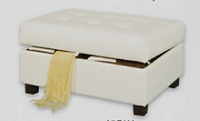 Cream bonded leather match storage ottoman foot stool with tufted top