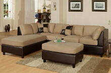 3 pc 2 tone Hazelnut Microfiber sectional sofa with reversible chaise and ottoman