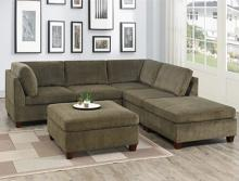 Poundex F824 6 pc Latitude run mckenny tan chenille fabric modular sectional sofa