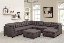 Poundex F845 9 pc Latitude run mckenny dark brown leather like fabric modular sectional sofa