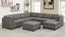 Poundex F847 9 pc Latitude run mckenny antique grey leather like fabric modular sectional sofa