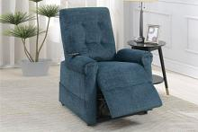 Poundex F86001 Joy Kona dark blue comfortable soft chenille power lift recliner chair