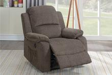 Poundex F86027 Joy Kona tan velvet fabric power motion recliner with USB power plug on side