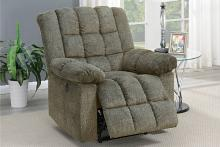 Poundex F86031 Joy Kona tan chenille fabric power motion recliner with USB power plug on side