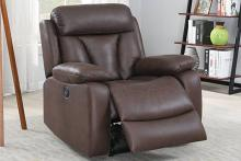 Poundex F86034 Joy Kona dark brown leatherette power motion recliner with USB power plug on side