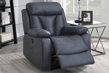 Poundex F86036 Joy Kona ink blue leatherette power motion recliner with USB power plug on side
