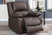 Poundex F86037 Joy Kona II dark brown leatherette power motion recliner with USB power plug on side