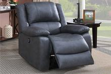 Poundex F86039 Joy Kona II ink blue leatherette power motion recliner with USB power plug on side