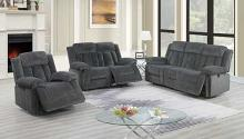 Poundex F86202-03 2 pc Latitude run power motion grey chenille sofa and love seat set recliner ends