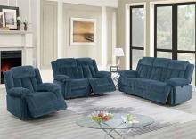 Poundex F86205-06 2 pc Latitude run power motion dark blue chenille sofa and love seat set recliner ends