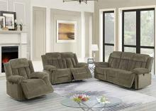 Poundex F86208-09 2 pc Latitude run power motion tan chenille sofa and love seat set recliner ends