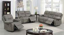 Poundex F86248-49 2 pc Latitude run power motion slate grey leatherette sofa and love seat set recliner ends