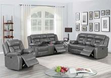 Poundex F86298-99 2 pc Latitude run power motion gray gel leatherette sofa and love seat set recliner ends