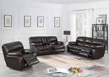 Poundex F86315-16 2 pc Latitude run lauren power motion dark brown gel leatherette sofa and love seat set recliner ends