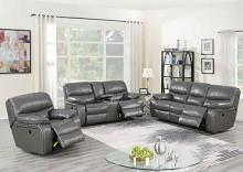Poundex F86318-19 2 pc Latitude run lauren power motion dark gray gel leatherette sofa and love seat set recliner ends