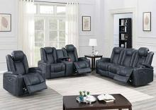 Poundex F86328-29 2 pc Diligent power motion ink blue leatherette sofa and love seat set power headrests