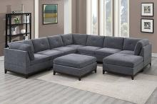 Poundex F865 9 pc Latitude run mckenny ash grey chenille fabric modular sectional sofa