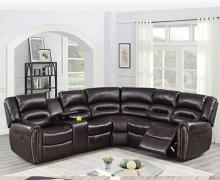 Poundex F86613 3 pc Briston brown bonded leather power motion sectional sofa with console