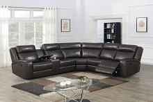 Poundex F86626 3 pc Red barrel studio Jubilee dark brown gel leatherette power motion sectional sofa with console
