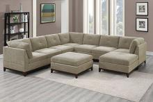 Poundex F867 9 pc Latitude run mckenny camel chenille fabric modular sectional sofa