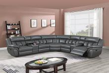 Poundex F86621 3 pc Red barrel studio jacqueline grey gel leatherette power motion sectional sofa with consoles